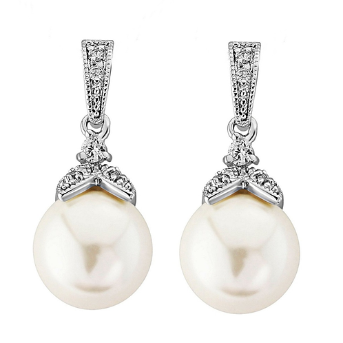 Vintage styled pearl drop and crystal bridal earrings for pierced and non-pierced ears