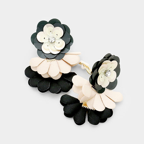 Black and Beige Sequin Flower with Suedette Petal Drops Clip Earrings