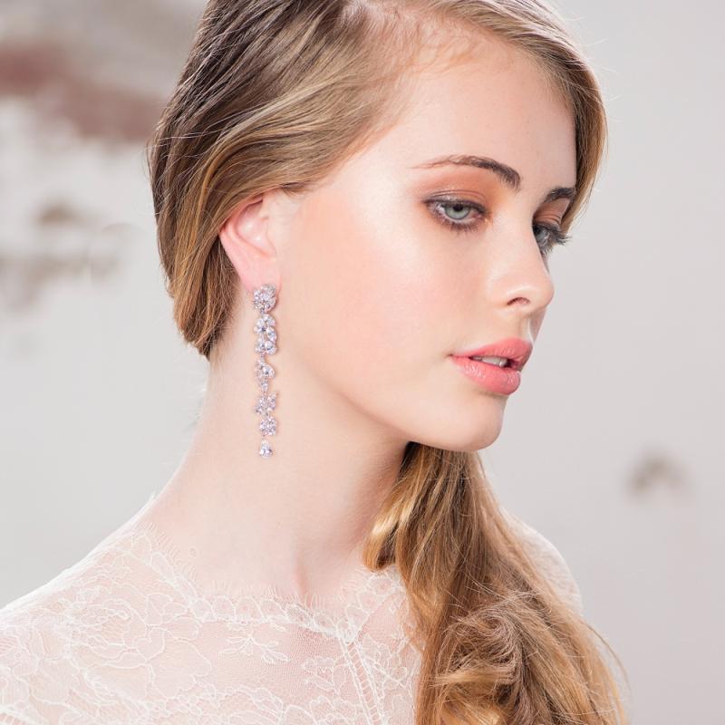 Linear Crystal Dangle Earrings