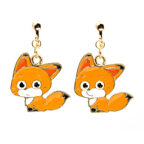 Cute Fox Clip On Earrings
