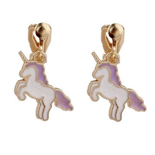 Purple Maned Unicorn Clip Earrings