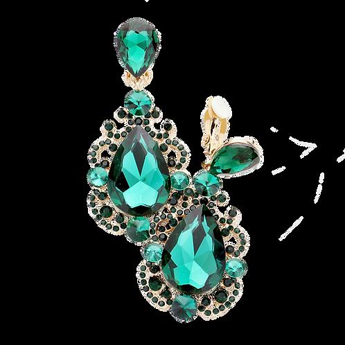 Scroll Framed Emerald Green Drop Clip Earrings
