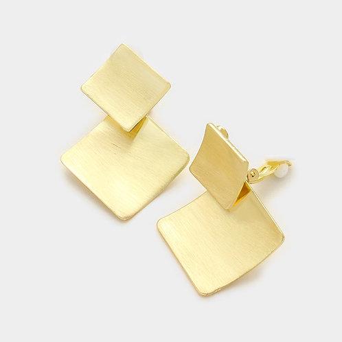 Double Diamond Gold Metal Clip Earrings