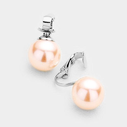 14mm Pink Faux Pearl Clip On Earrings