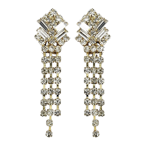 Screw back clip-on rhinestone earrings, gold
