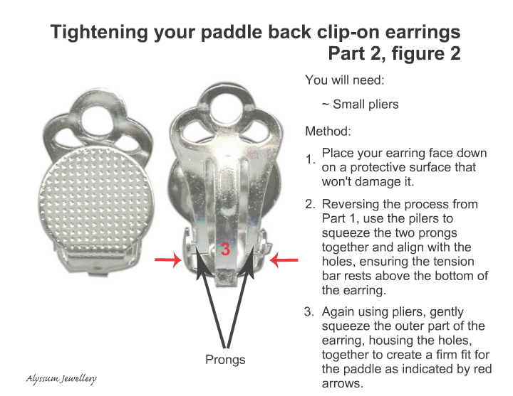 Tightening your paddle back clip-on earrings with pliers