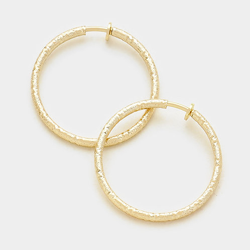 Textured gold spring clip-on hoops