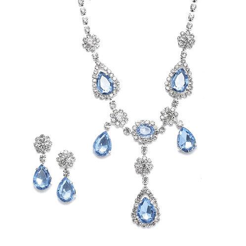 Blue rhinestone formal prom necklace set
