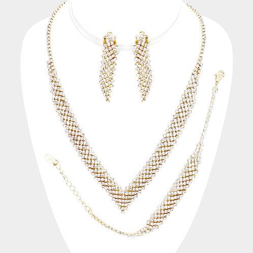 Gold Tone Crystal V-Shaped Necklace Set.