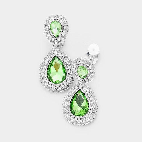 Dainty Pear Drop Clip Earrings, Peridot Green