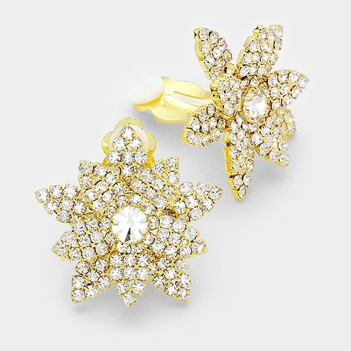 Pave Flower Clip-On Earrings