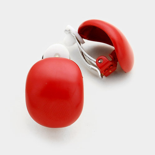 Lacquered Metal Retro Clip On Earrings, Red