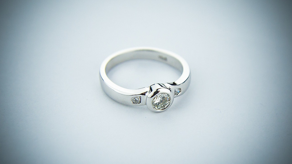 Rhodium Plated Engagement Ring