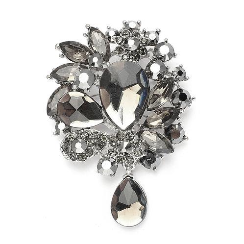 Striking Black Diamond Brooch Pin