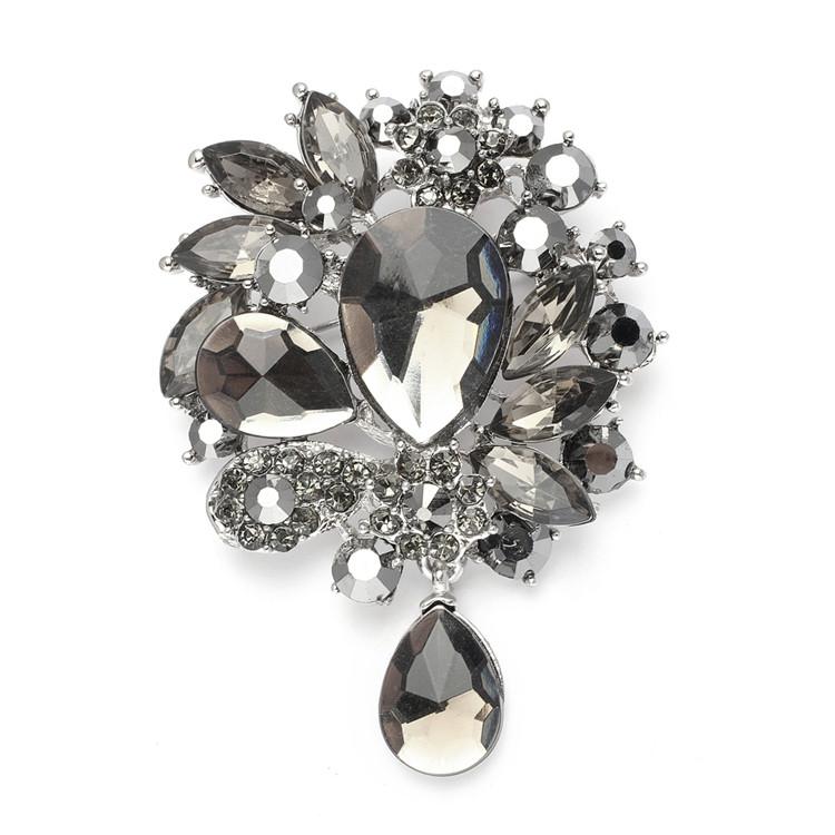 Abstract Black Diamond Pin Brooch
