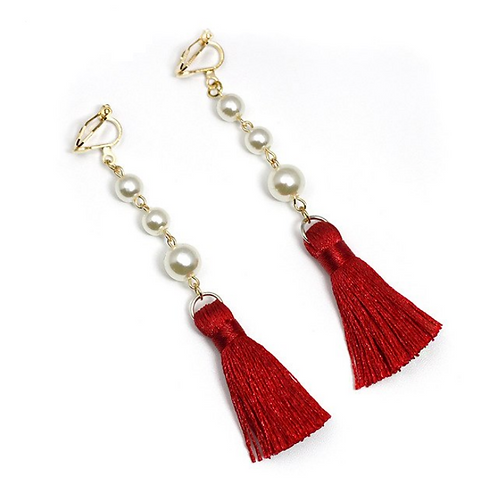 Pearl and Red Tassel Clip On Earrings