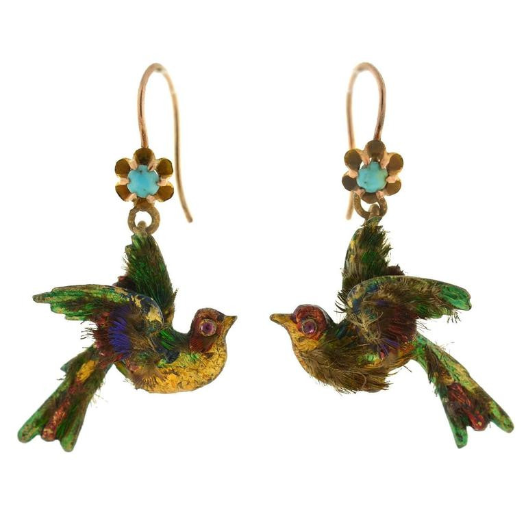 Antique Victorian Enamel and Feather Bird Hook Earrings