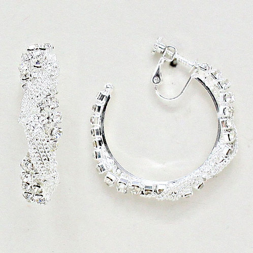 4cm Rhinestone and Chain Twist Clip On Hoop Earrings, Silver