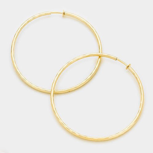 8cm Gold Tone Soft Texture Clip-On Hoops