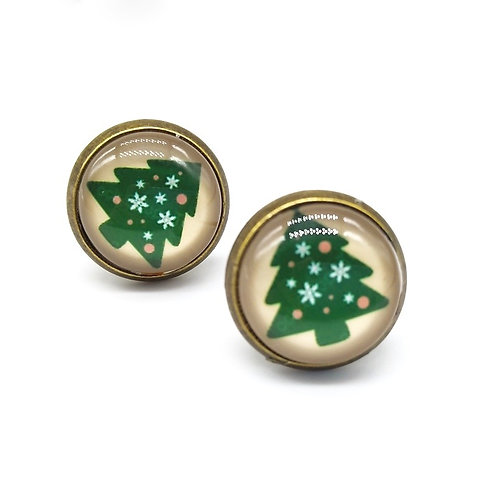 Christmas Tree Clip On Button Earrings