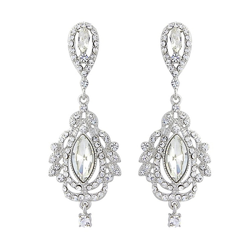 Glamorous clip-on or pierced wedding earrings