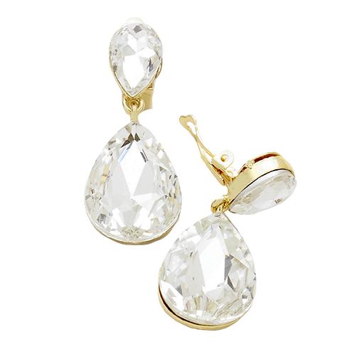 Clear Gold Pear Drop Fashion Clip Earrings