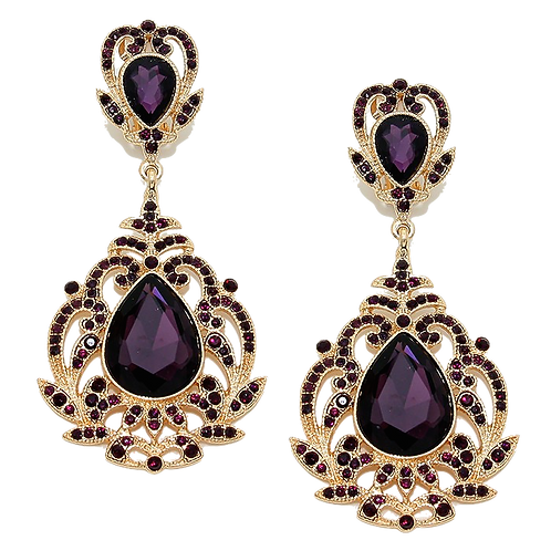 Gothic Purple Crystal Clip On Earrings