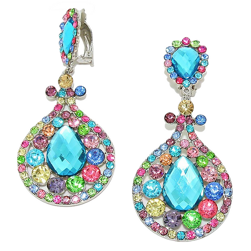 Colourful flashy clip-on earrings