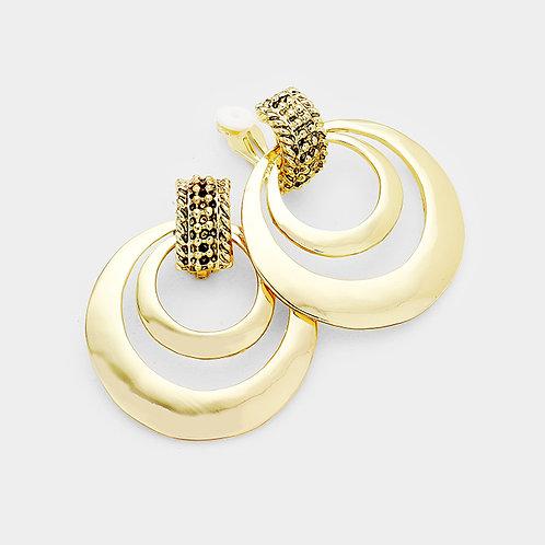 Clip on retro double hoop door knocker earrings, gold