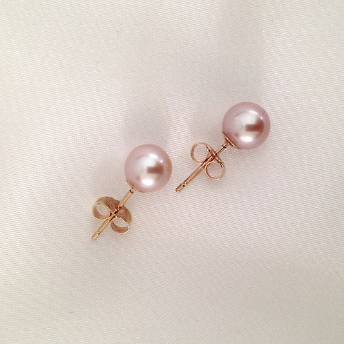 7mm Pink Akoya Pearl Studs with 14k Gold Posts