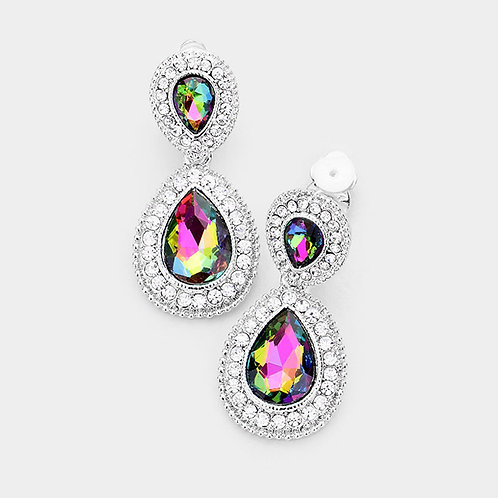 Dainty Pear Drop Clip Earrings, Rainbow Vitrail