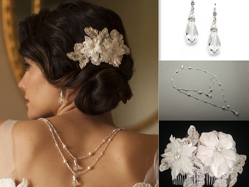 Combination image of bridal comb, necklace and earrings set