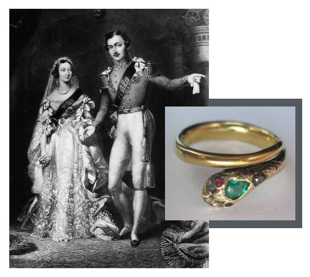 Queen Victoria and Prince Albert with the Serpent Engagement Ring