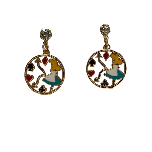 Alice in Wonderland Clip Earrings