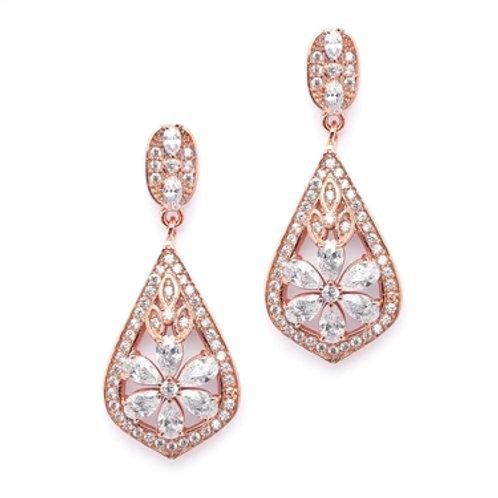 Rose Gold Art Deco CZ Clip Earrings