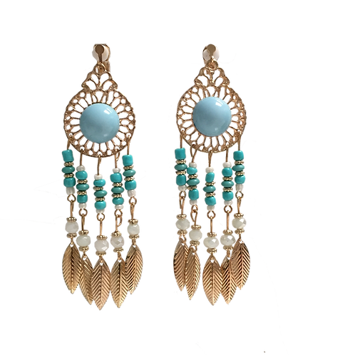Turquoise and White Bead Boho Chandelier Clip Earrings