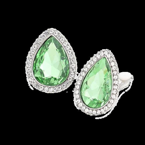 Large Rhinestone Framed Peridot Pear Drop Clip Earrings
