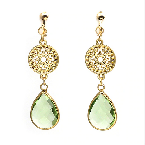 Gold Filigree and Peridot Glass Drop Clip Earrings
