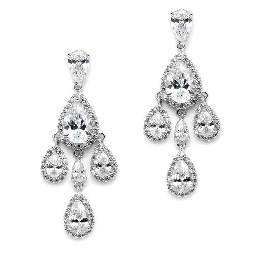 Petite cz chandelier clip earrings dainty multi crystal chandelier premium clip on bridal earrings aloadofball Image collections