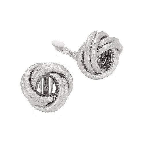 Silver Retro Knot Clip Earrings