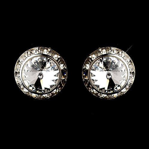15mm crystal button earrings