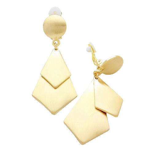 Double Diamond Gold Clip Earrings
