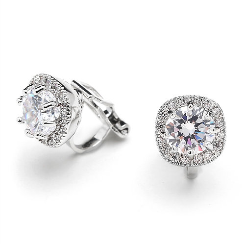 Pave Framed Solitaire CZ Clip Earrings