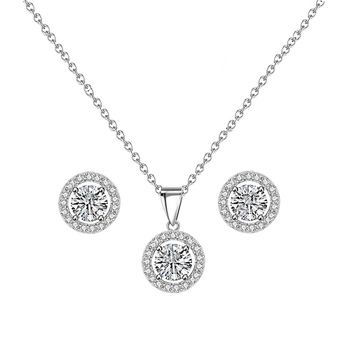 Dainty Rhodium Pave Framed Necklace Set