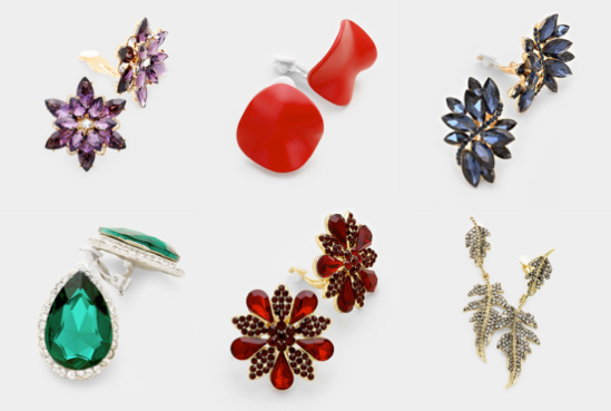 Bold Colourful Clip-on Earrings