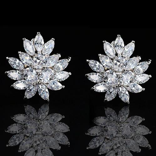 Marquis CZ Crystal Lotus Clip Earrings