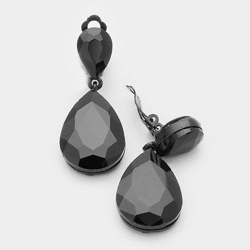 Jet Black Pear Drop Clip On Fashion Earrings