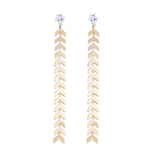 Long Gold Chevron Clip-On Earrings
