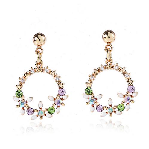 Floral Crystal Hoop Clip Earrings