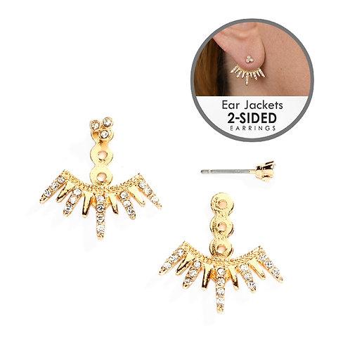 Gold spiked crystal ear jacket earrings